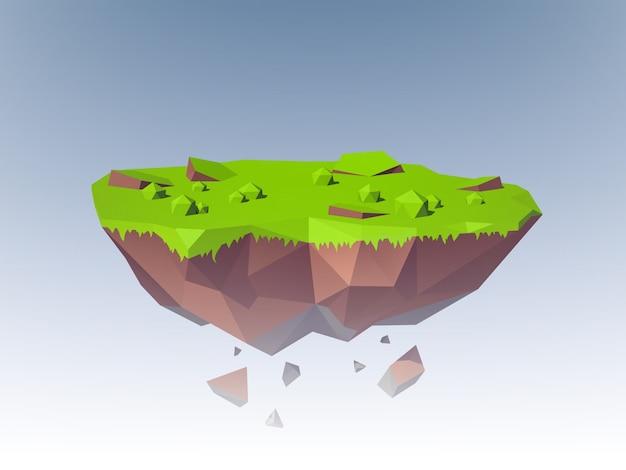 Flying island polygonal Vetor grátis