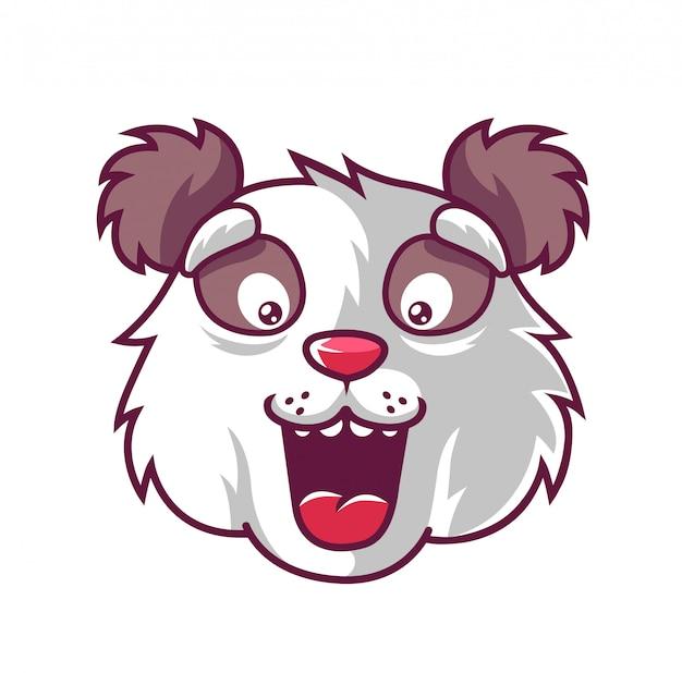Focinho divertido panda que é agradavelmente surpreendido. Vetor Premium