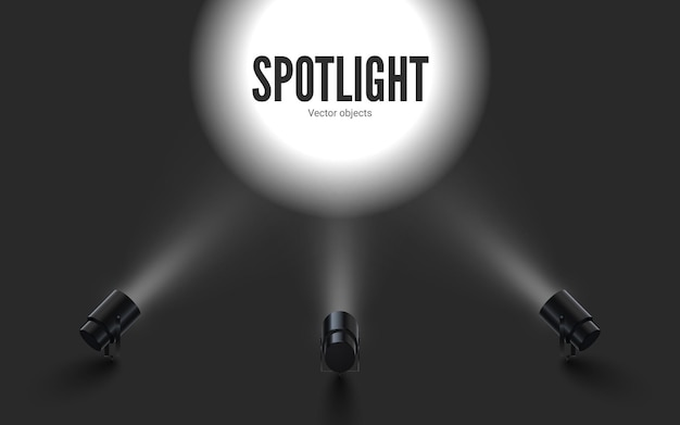 Focos com luz branca brilhante brilhando. projetores de coleções com efeito iluminado. conjunto de projetor para estúdio. Vetor Premium