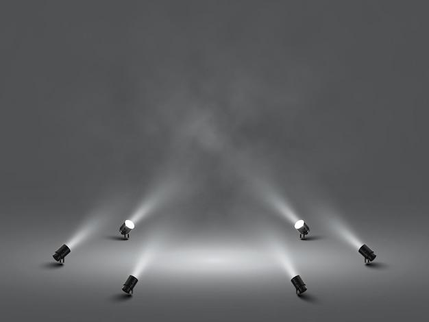 Focos com luz branca brilhante do palco. projetor de efeito iluminado. ilustração do projetor para estúdio. Vetor Premium