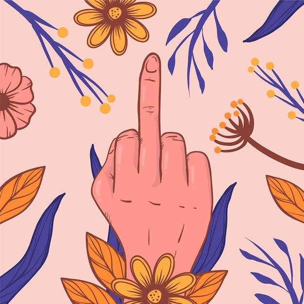 Foda-se símbolo com flores Vetor grátis