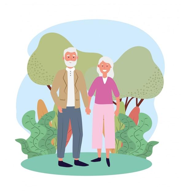 Fofa velha mulher e homem casal com árvores e plantas Vetor Premium