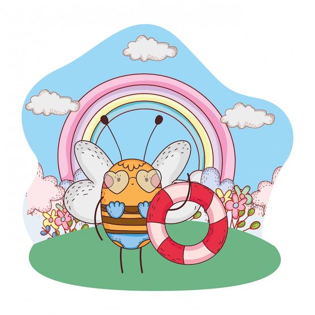 Fofinho abelha com maiô e flutuar no acampamento Vetor Premium