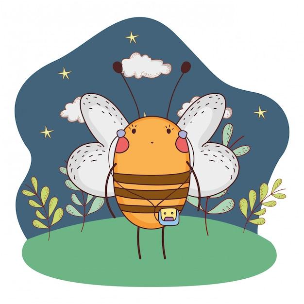 Fofinho abelha com walkman no acampamento Vetor Premium