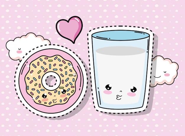 Fofinho kawaii donut e copo de água com nuvens Vetor Premium
