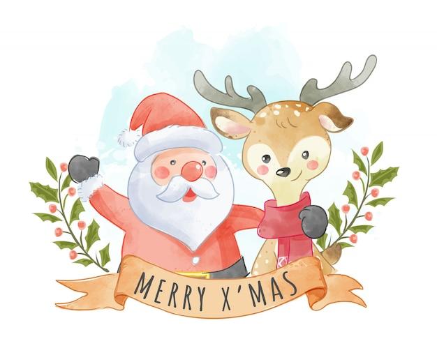 Fofo papai noel e renas com sinal de natal Vetor Premium
