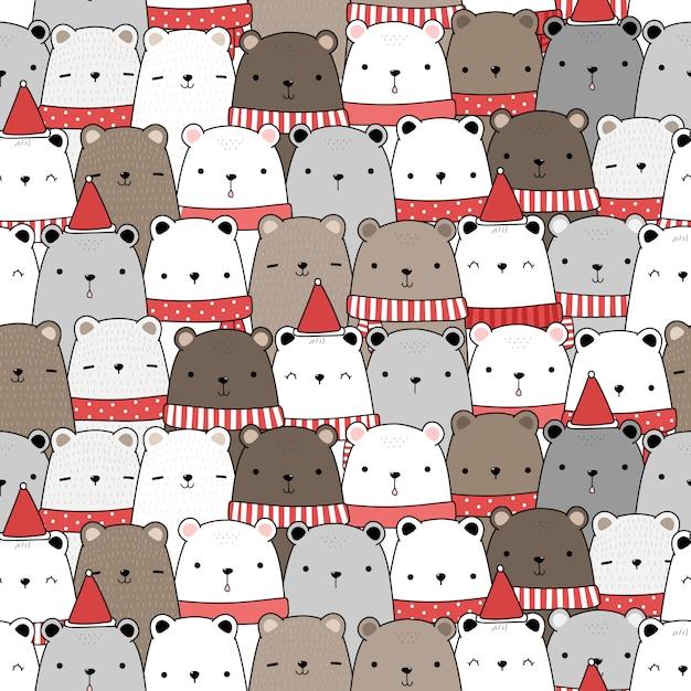 Fofo ursinho adorável feliz natal e feliz ano novo desenho animado doodle padrão sem emenda Vetor Premium