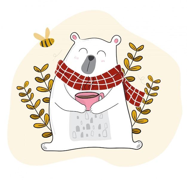 Fofo urso branco tomando café na temporada de primavera com uma pequena abelha Vetor Premium