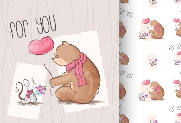 Fofo urso com bebê rato dos desenhos animados animais sem costura padrão Vetor Premium