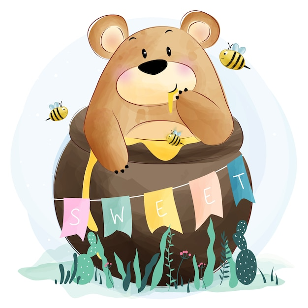 Fofo urso comendo mel Vetor Premium