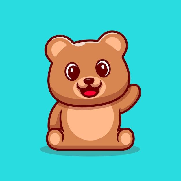 Fofo urso de pelúcia acenando a mão dos desenhos animados ícone ilustração. Vetor grátis