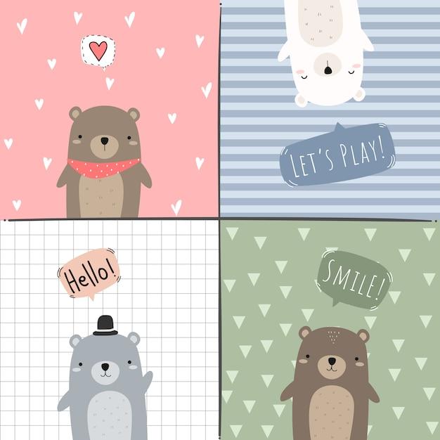 Fofo urso de pelúcia adorável urso polar doodle conjunto de cartão Vetor Premium