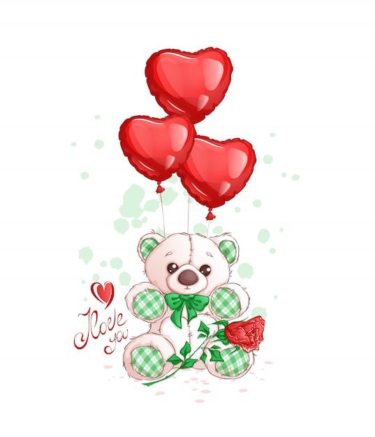 Fofo urso de pelúcia branco com detalhes em tecido, balões de coração vermelho, uma rosa e inscrição manuscrita Vetor Premium