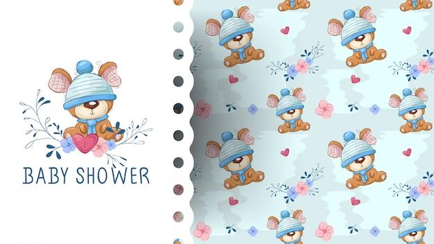 Fofo urso de pelúcia com desenho de flor Vetor Premium