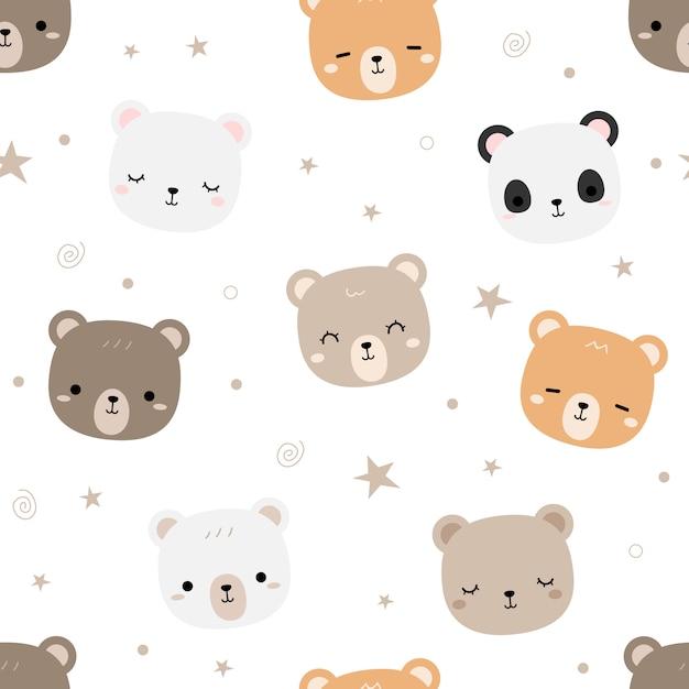 Fofo urso de pelúcia desenhos animados doodle padrão sem emenda Vetor Premium