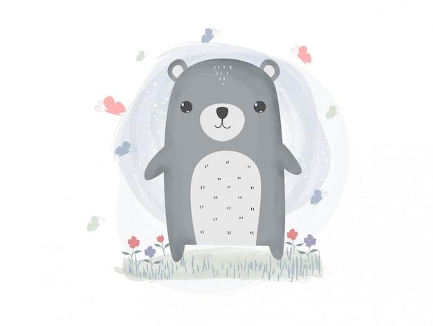 Fofo urso de pelúcia e borboleta papel de parede pastel dos desenhos animados em aquarela Vetor Premium
