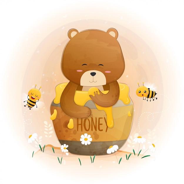 Fofo urso de pelúcia marrom no pote de mel. Vetor Premium