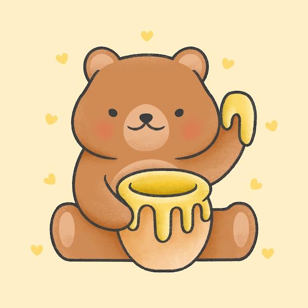 Fofo urso de pelúcia segurando estilo de mão desenhada dos desenhos animados pote de mel Vetor Premium
