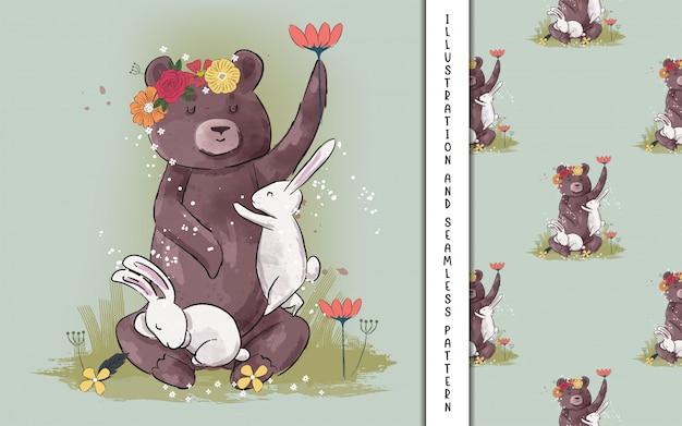 Fofo urso e coelho com flores para crianças Vetor Premium