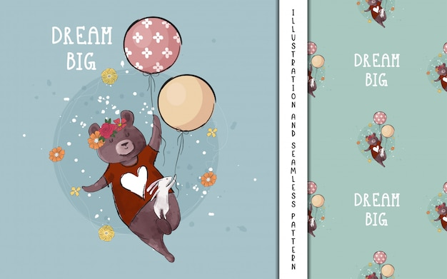 Fofo urso e coelho voando com balões para crianças Vetor Premium