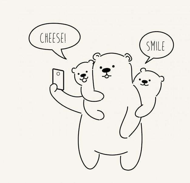 Fofo urso fazendo foto de selfie. ilustração Vetor Premium