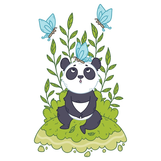 Fofo urso panda sentado em um prado e borboletas azuis estão voando por aí. Vetor Premium