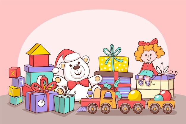 Fofo urso polar e boneca com caixas de presente embrulhado Vetor grátis