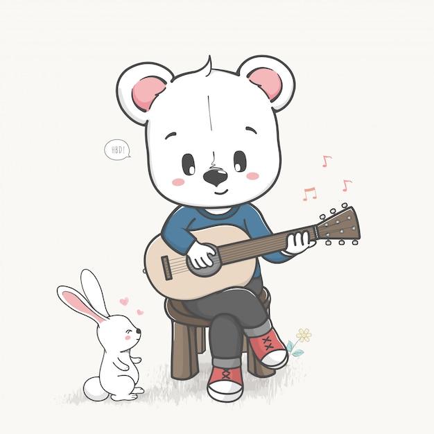 Fofo urso tocar um vetor de mão desenhada de guitarra dos desenhos animados Vetor Premium