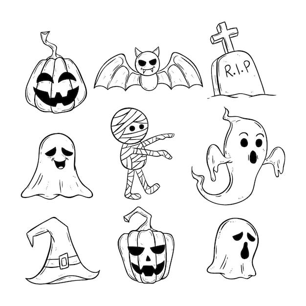 Fofos ícones de halloween preto e branco com doodle ou mão desenhado estilo Vetor Premium