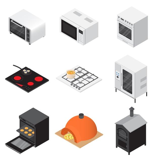 Fogão de forno conjunto de ícones de lareira Vetor Premium