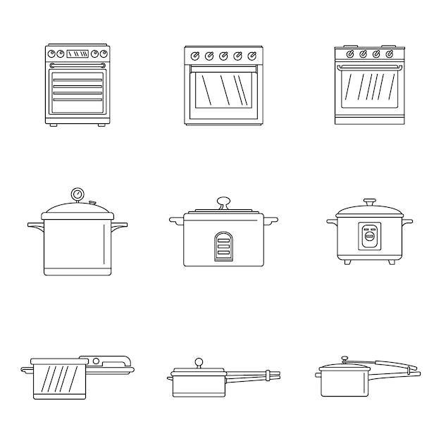 Fogão de forno panela fogão conjunto de ícones Vetor Premium