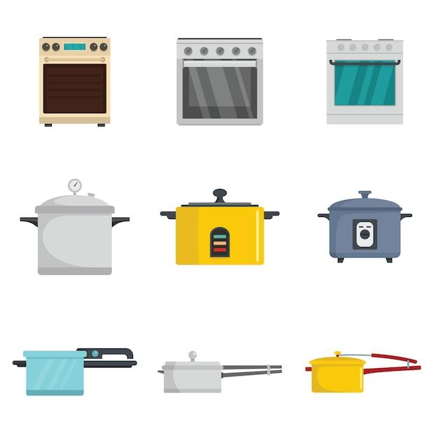 Fogão de forno panela fogão queimador conjunto de ícones estilo simples Vetor Premium