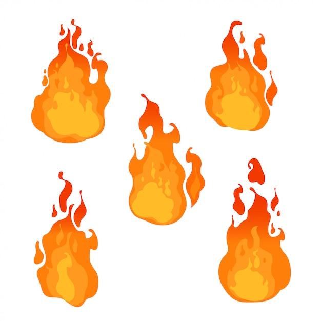 Fogo, chamas de diferentes formas em fundo branco. ilustração Vetor Premium