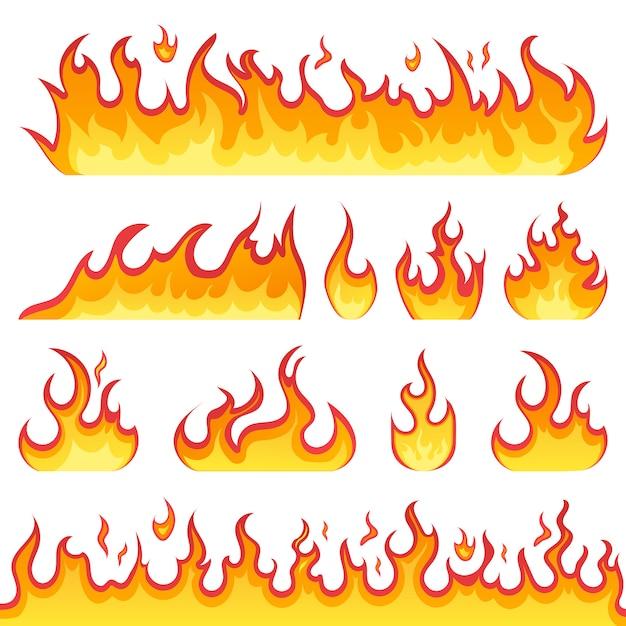 Fogo chamas ícones no estilo cartoon, sobre um fundo branco. chamas de formas diferentes. conjunto de bola de fogo, símbolos de chamas. ilustração. Vetor Premium