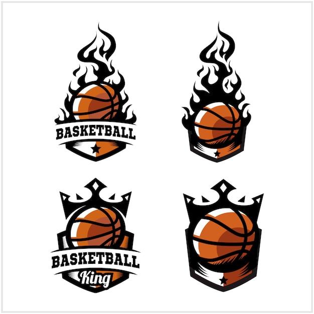 Fogo de bola de basquete e rei distintivo logotipo Vetor Premium