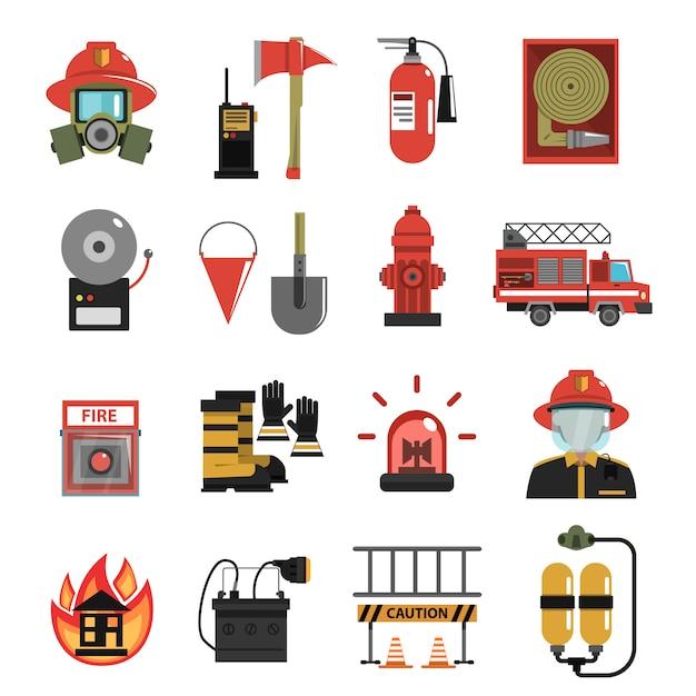 Fogo, ícone, apartamento Vetor grátis