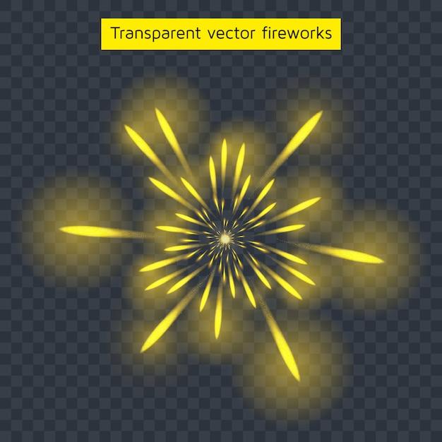 Fogos de artifício amarelos Vetor Premium