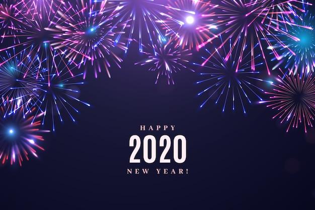 Fogos de artifício ano novo 2020 fundo Vetor grátis