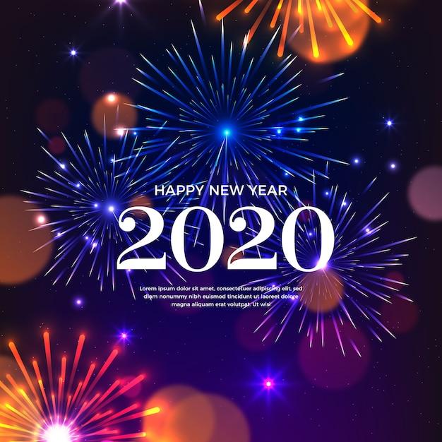 Fogos de artifício ano novo 2020 Vetor grátis