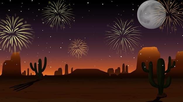 Fogos de artifício celebração no céu cena do deserto Vetor grátis