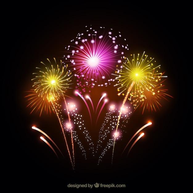 Fogos de artifício coloridos Vetor grátis