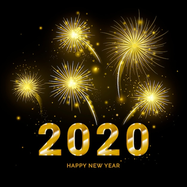 Fogos de artifício dourados ano novo 2020 Vetor grátis
