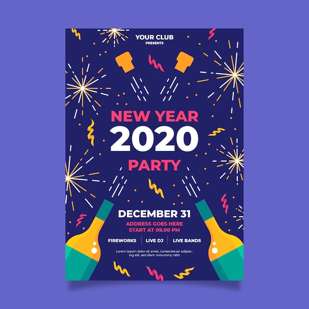 Fogos de artifício dourados e champanhe feliz ano novo 2020 flyer Vetor grátis