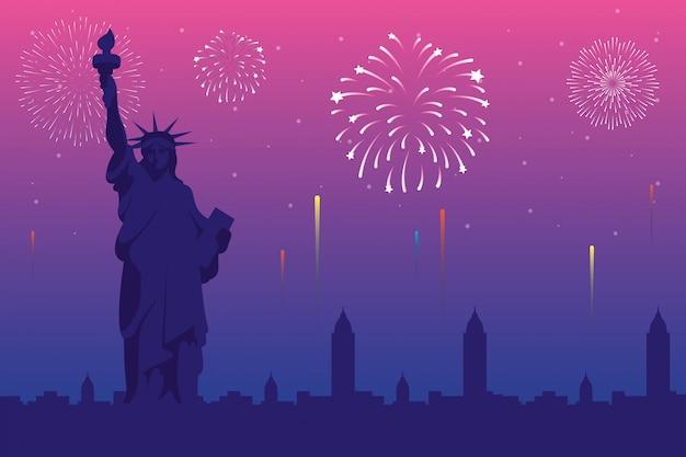 Fogos de artifício explodem explosões com o horizonte da cidade de nova york Vetor Premium