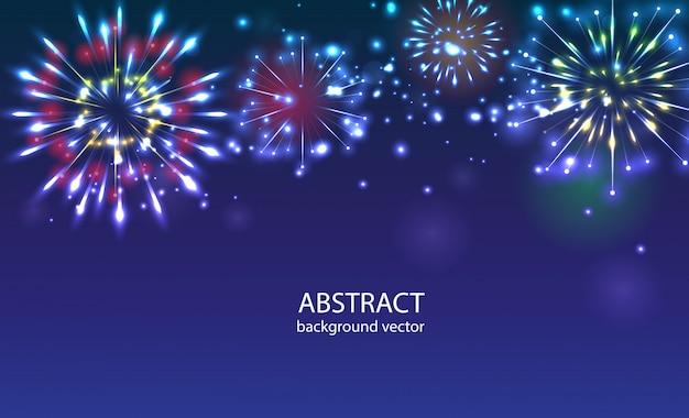 Fogos-de-artifício no vetor crepuscular do fundo. celebração de feriado de ano novo de fogos de artifício. Vetor Premium