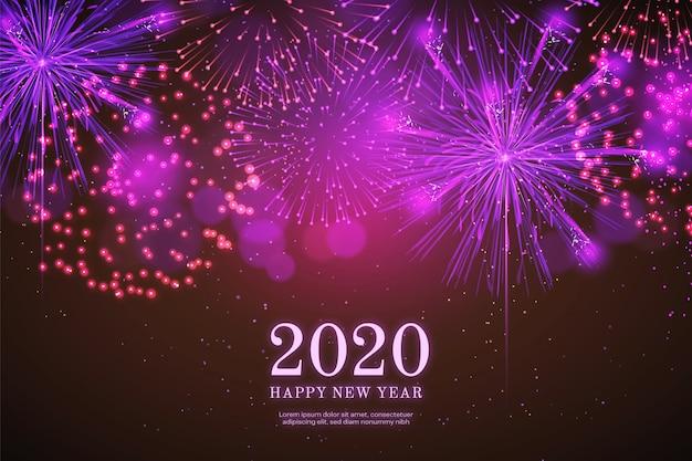 Fogos de artifício realistas ano novo 2018 fundo em preto Vetor grátis