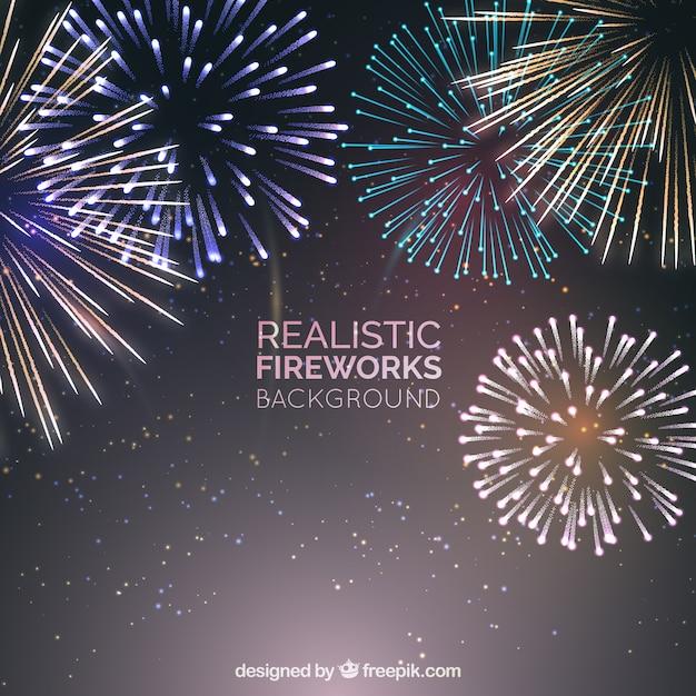 Fogos de artifício realistas Vetor grátis