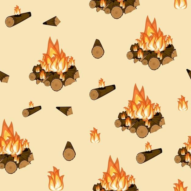 Fogueira, queimando madeira e chama padrão sem emenda Vetor Premium