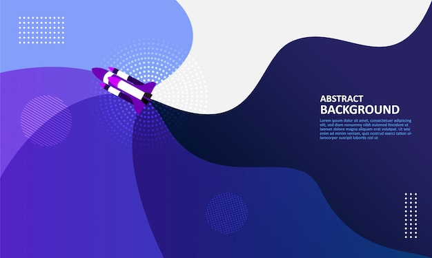 Foguete abstrata voar fundo fluido Vetor Premium
