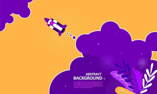Foguete abstrato voar fundo amarelo Vetor Premium
